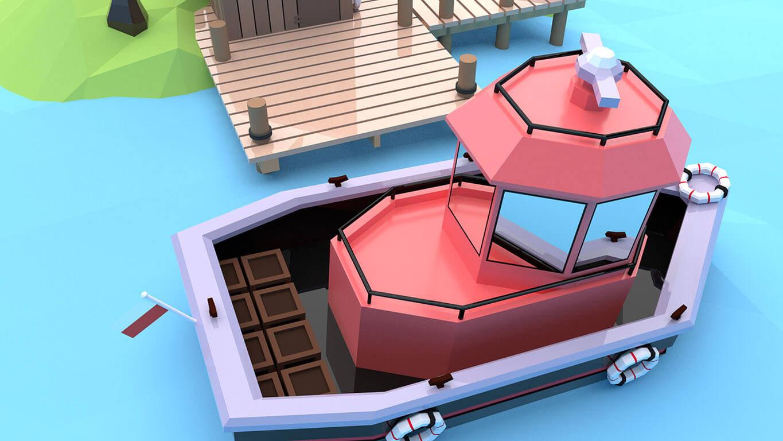 pixels can talk 3d pixel red boat 03