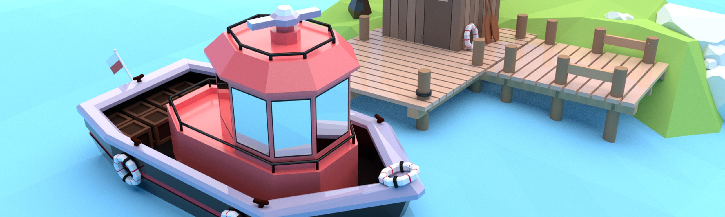 pixels can talk 3d pixel red boat big
